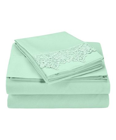 Another great find on #zulily! Mint Wrinkle-Resistant Regal Lace Sheet Set #zulilyfinds