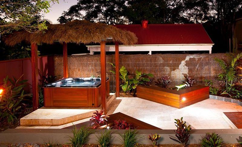 Tropical Spas Hot Tub Tropical Spa Theme Image Via Houzz Hot Tub Backyard Patio Small Backyard Design