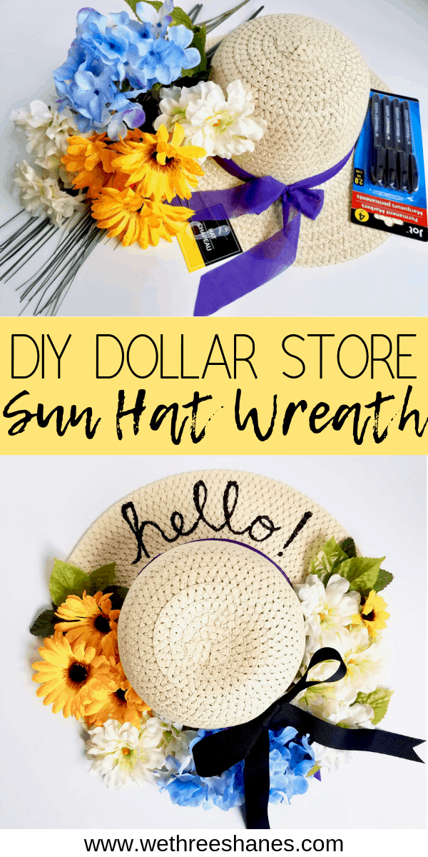 Photo of DIY Dollar Tree Sun Hat Wreath | We Three Shanes