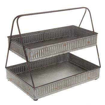 Rectangular Two Tiered Galvanized Metal Tray Hobby Lobby 1500206 In 2020 Galvanized Metal Trays Galvanized Decor Metal Trays