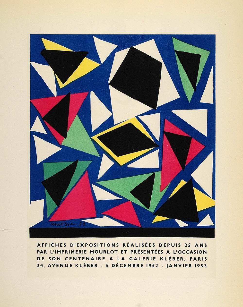 1959 Lithograph Henri Matisse Poster Art Abstract Galerie Kleber Mourl - Period Paper