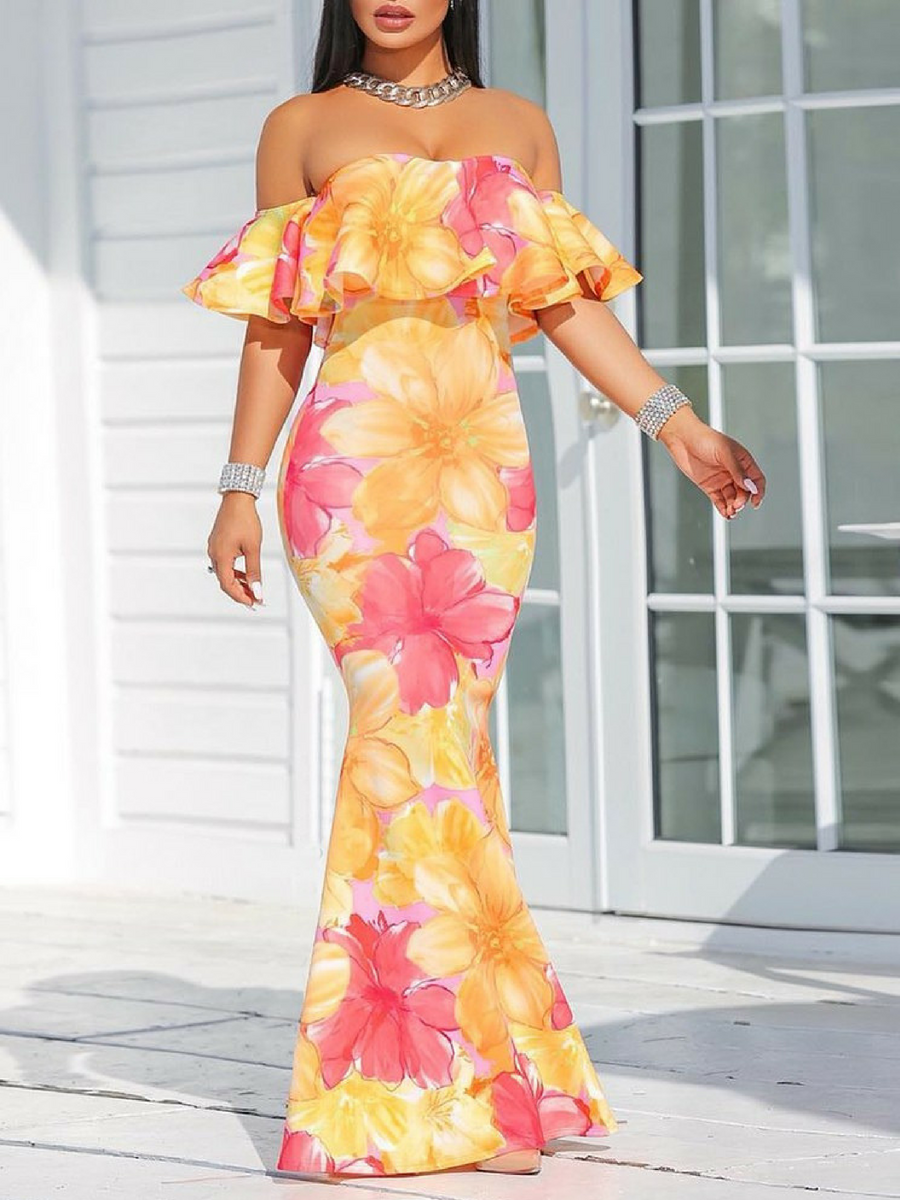 e6a5ccf3a94 I love this bright and festive dress! Very pretty! Floral Print Ruffle  Strapless Fishtail Maxi Dress. Summer outfits - outfit ideas - summer  fashion. NNT ...