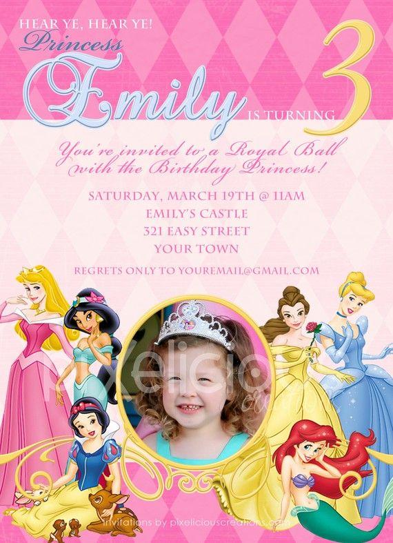 DISNEY PRINCESS Custom Photo Birthday Invitation Digital File You