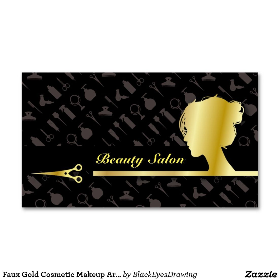 Faux Gold Cosmetic Makeup Artist Beauty Salon Business Card ...
