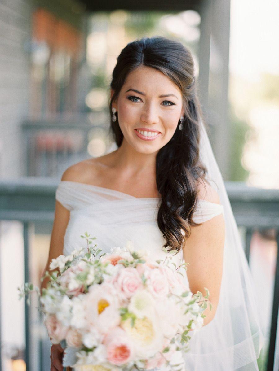 Romantic Pastel Rosemary Beach Wedding Wedding Hairstyles Half