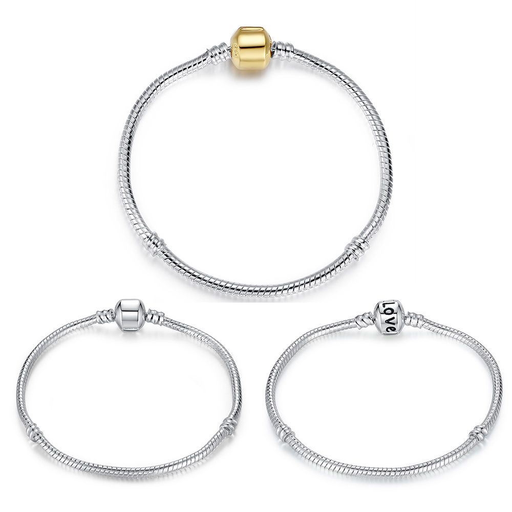 Stainless Steel Snake Bracelet Chain Fit European Beads/&Charms For Christmas