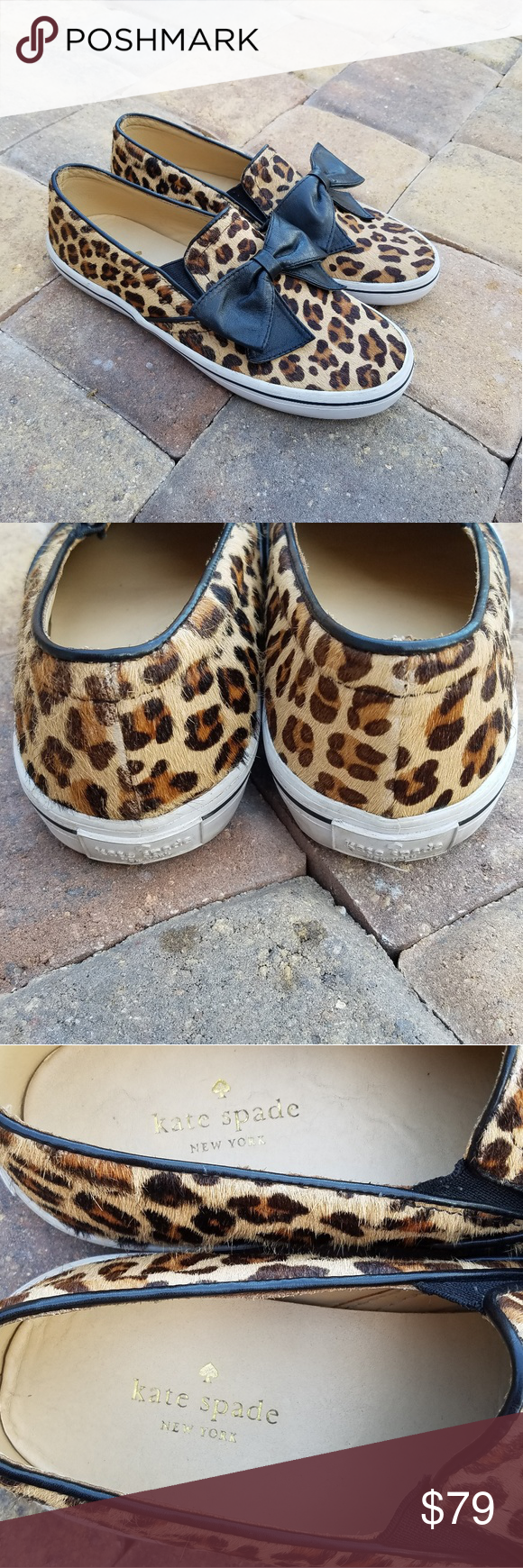 ab788684aa28 Kate Spade Delise Leopard Black Bow Sneakers in 2018