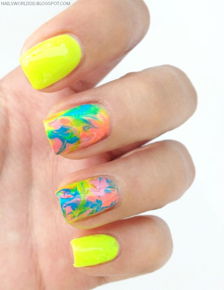 WATER MARBLE NAIL TUTORIAL (WITHOUT WATER)   Nails world   Pinterest ...