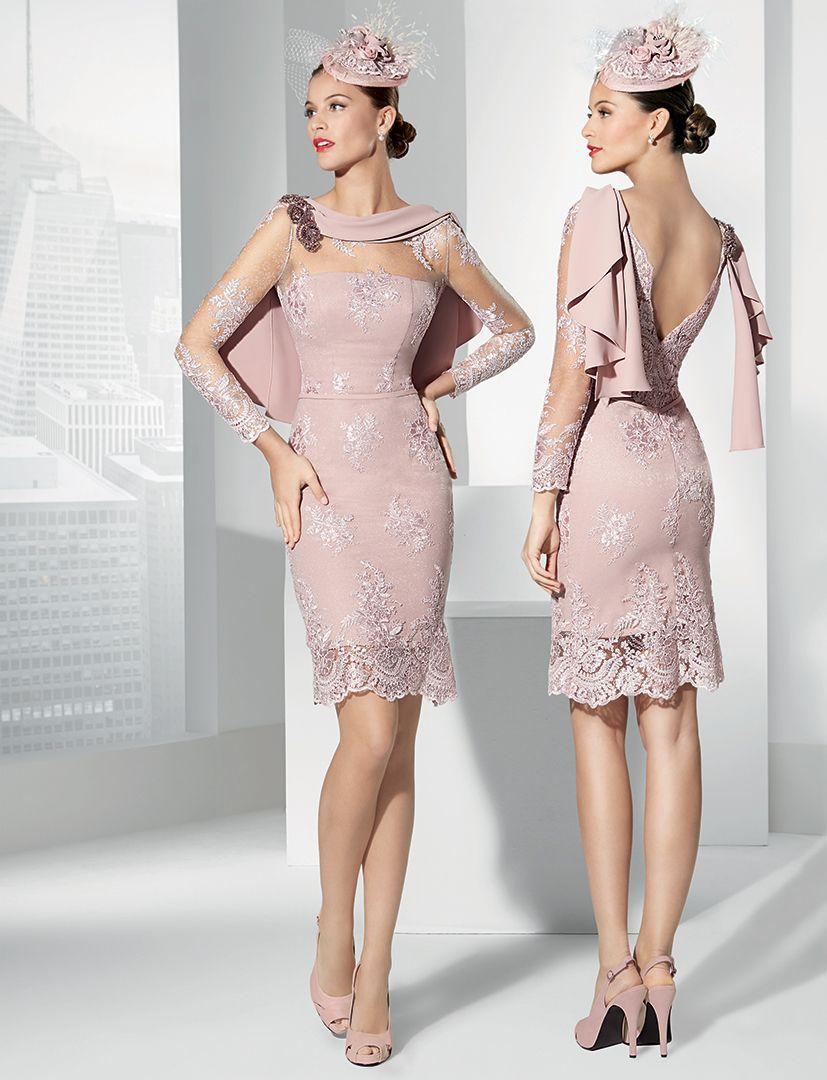 Vestidos cocktail rosa palo