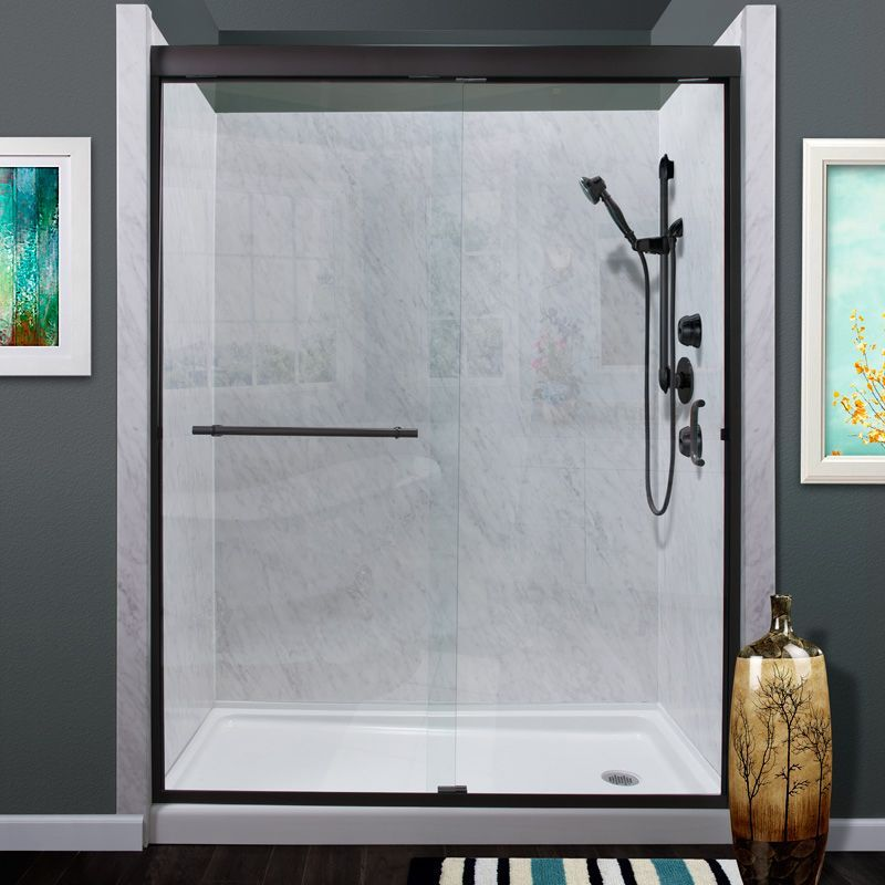 "Miseno MSDC6072 Azul 72"" High x 60"" Wide Frameless Sliding Shower Door with Clea Oil Rubbed Bronze Showers Shower Doors Sliding"