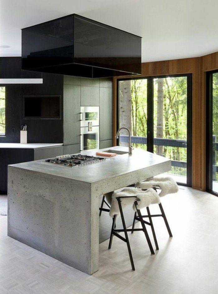La cuisine quip e avec lot central 66 id es en photos - Exemple cuisine avec ilot central ...