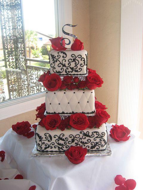 White, Black and Red Roses Wedding Cake | Rose wedding cakes, Rose ...