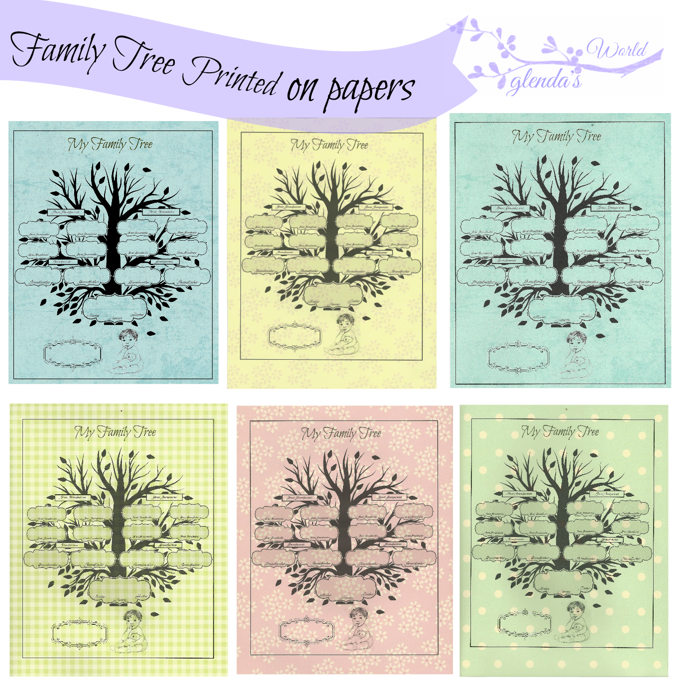 Family Tree Printed On Baby Ppaers
