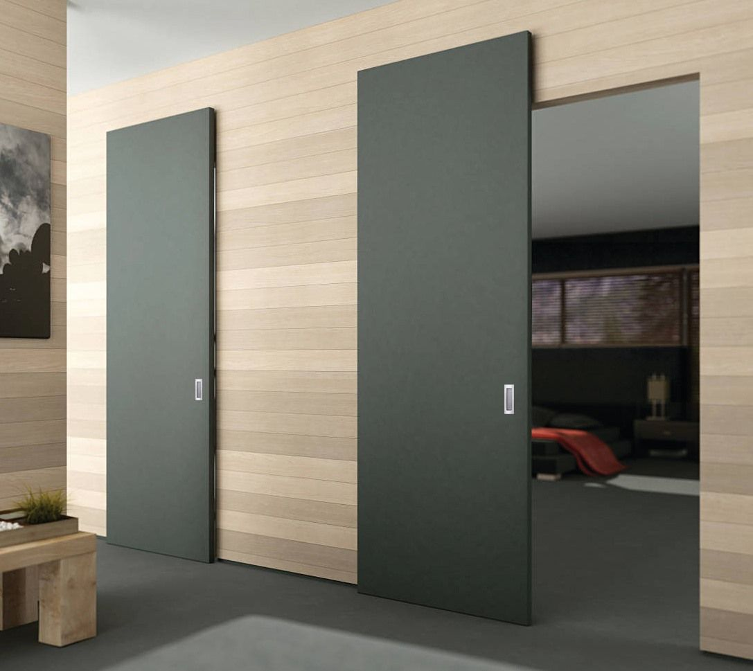 Magic 2 Wall Mount Concealed Sliding System For Wood Doors Modern Sliding Doors Sliding Doors Interior Doors Interior Modern
