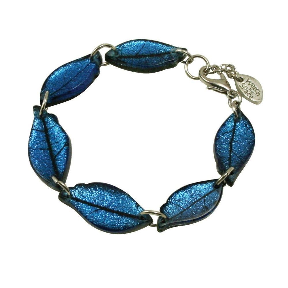Laurel Deep Blue Leaf Silvered Resin Bracelet