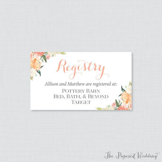 234461ab734 printable or printed wedding registry cards peach floral wedding .