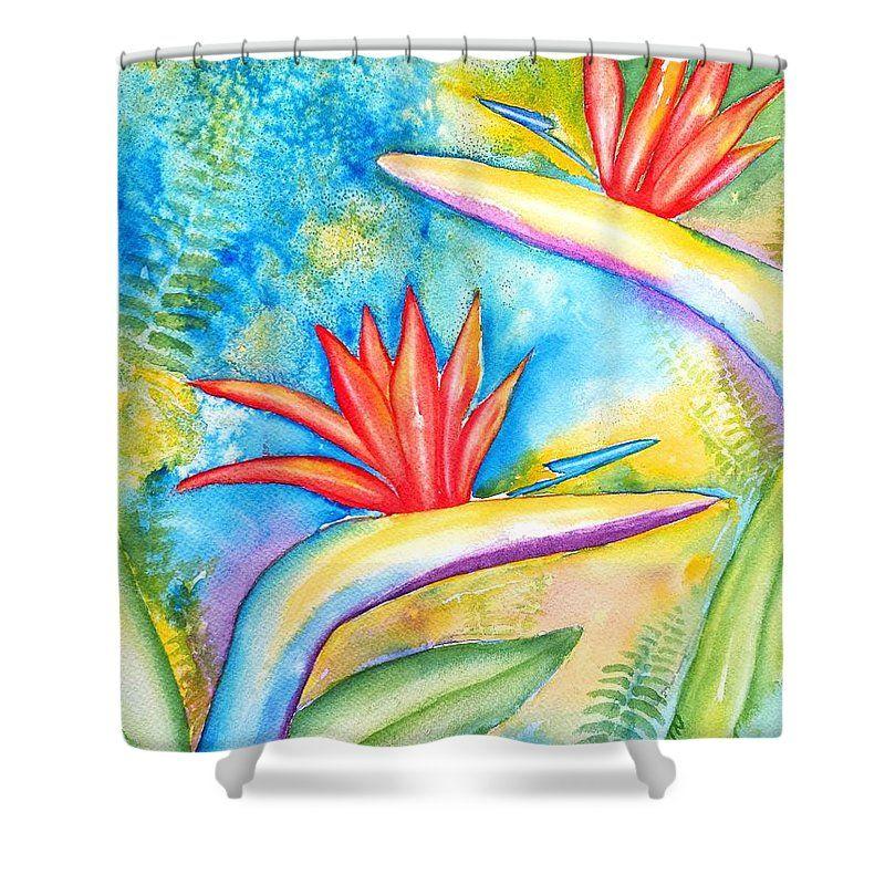 Bird Of Paradise Shower Curtain Print Original Watercolor Painting By Artist Carlin Blahnik