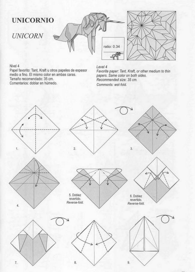 Unicorn origami tutorial | Xinblog | Craft ideas | Pinterest ...