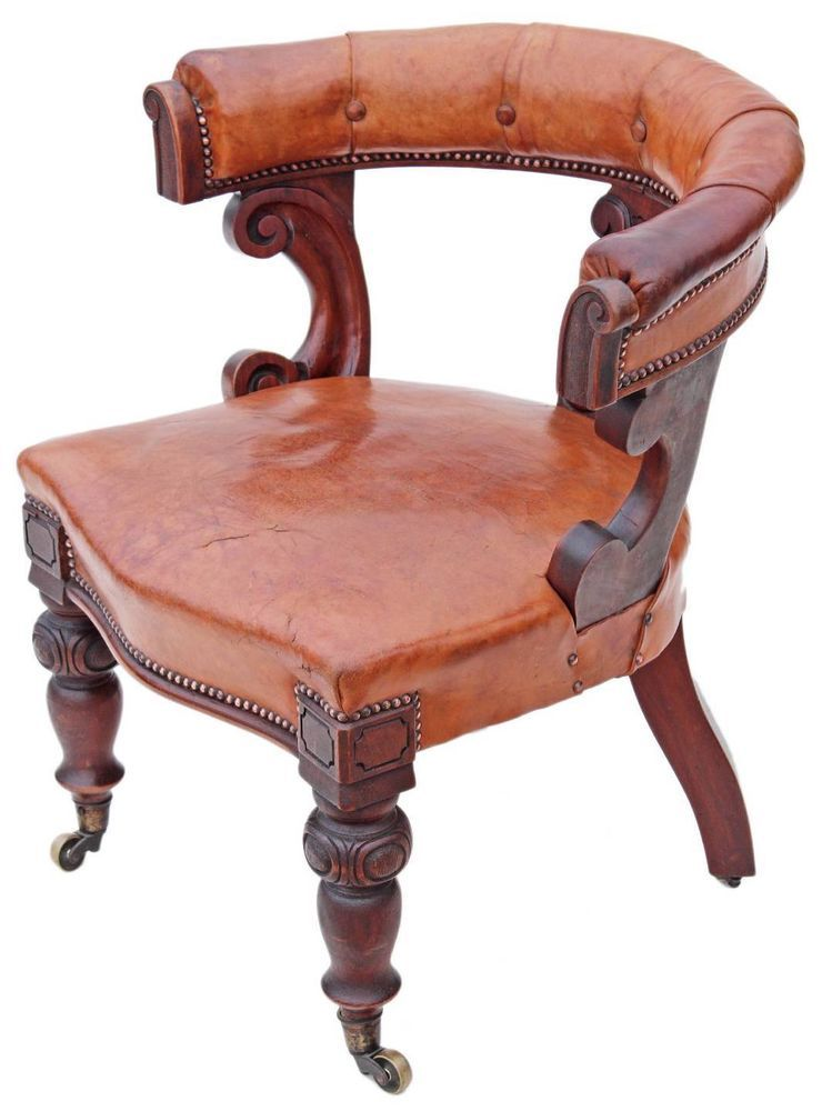Antique Victorian 19C walnut leather library desk tub chair armchair in  Antiques, Antique Furniture, - Antique Victorian 19C Walnut Leather Library Desk Tub Chair Armchair