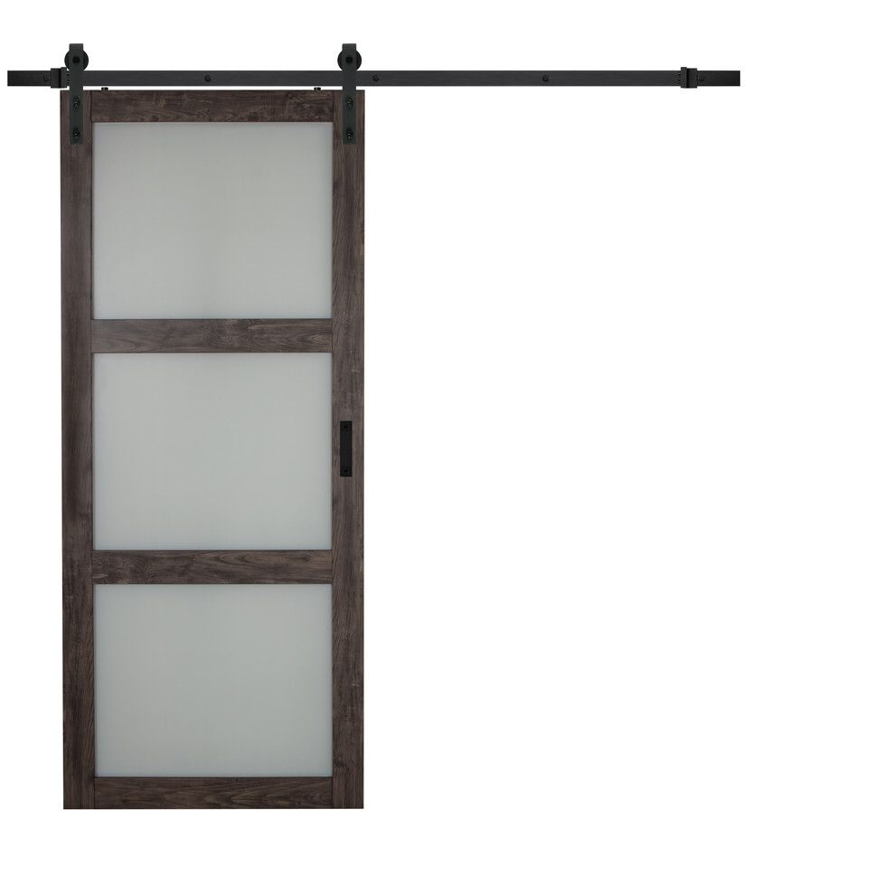 Continental Frosted Glass 1 Panel Ironage Laminate Interior Barn Door Interior Barn Doors