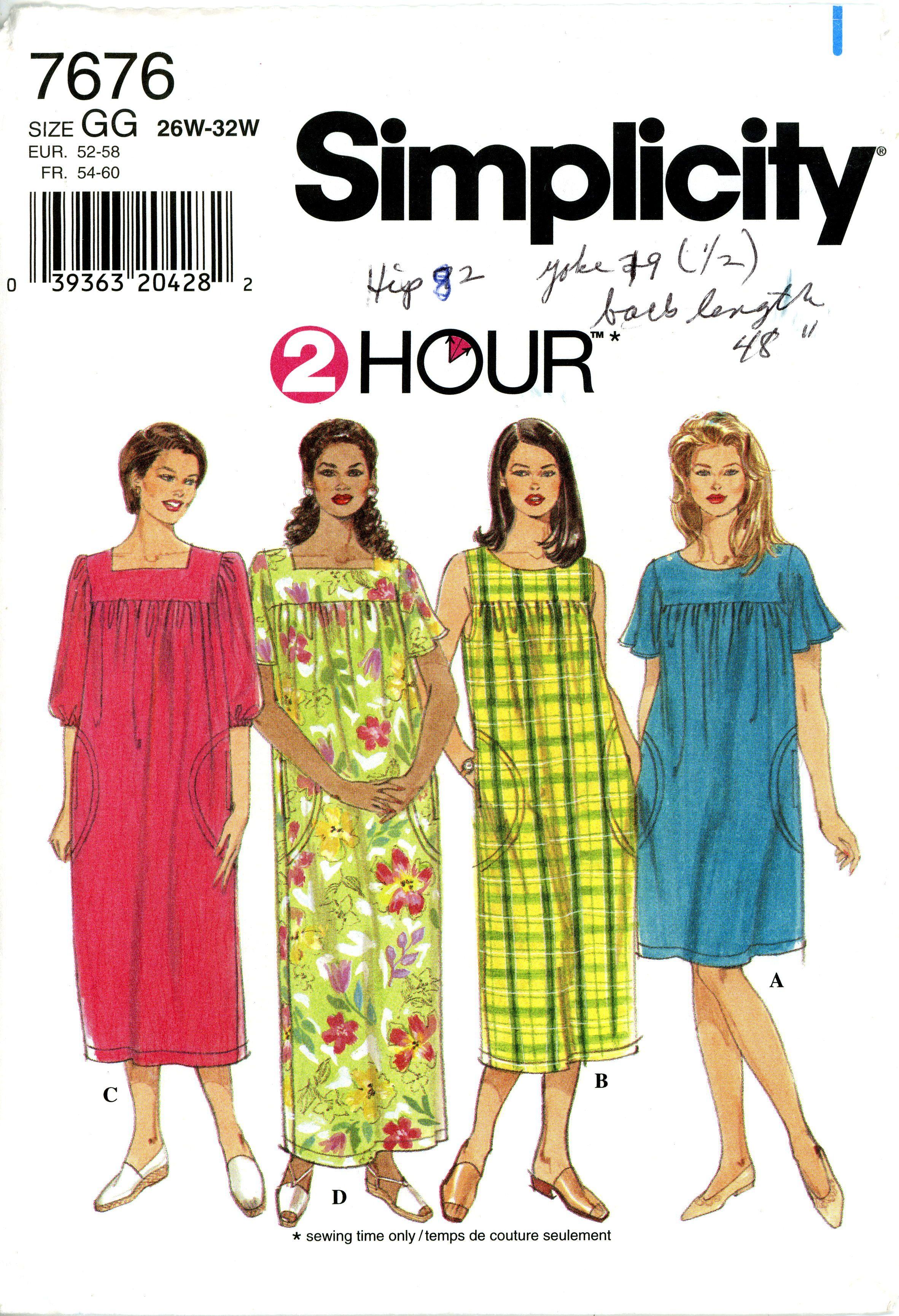Simplicity 7676 Mu Mu Dress Pattern Plus Size Sewing Easy