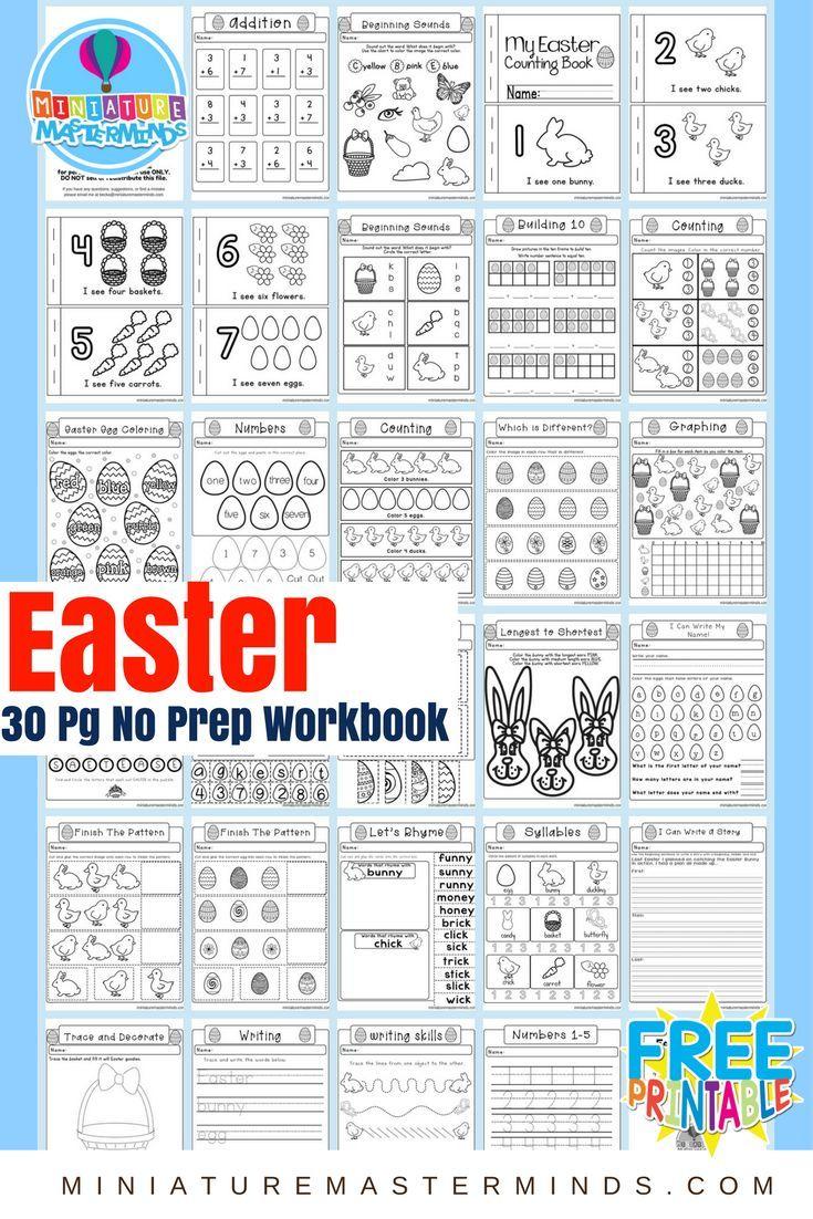 Easter No Prep Preschool And Kindergarten Worksheet 30 Page Book Free Printable Download Kindergarten Worksheets Free Preschool Worksheets Free Kindergarten Worksheets [ 1102 x 735 Pixel ]