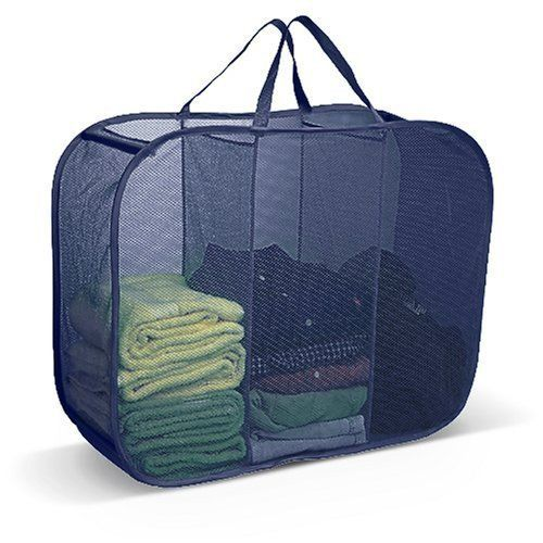 Pop Up Laundry Sorter Hamper 3 Compartment Blue By Pop Up 9 49