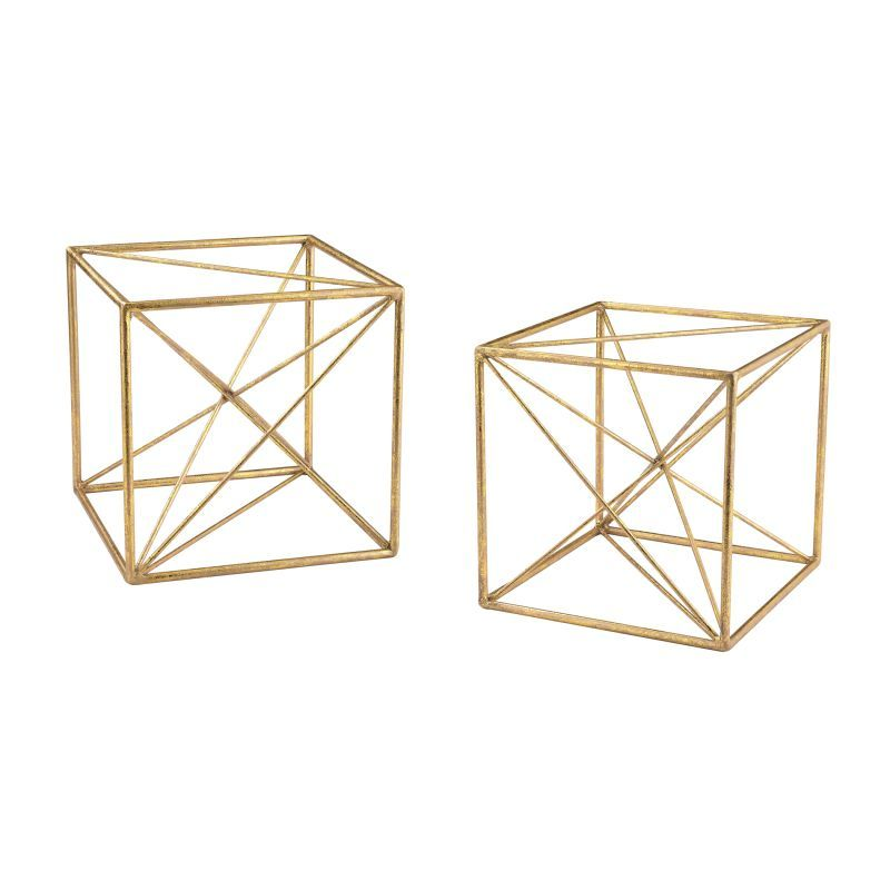 Sterling Industries 51 017/S2 Angular Study Cubic Decor   Set Of Two Gold