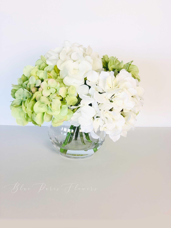 White Green Hydrangea In Vase Artificial Faux Flower Etsy In 2020 Faux Flower Arrangements Silk Flower Centerpieces Faux Flowers