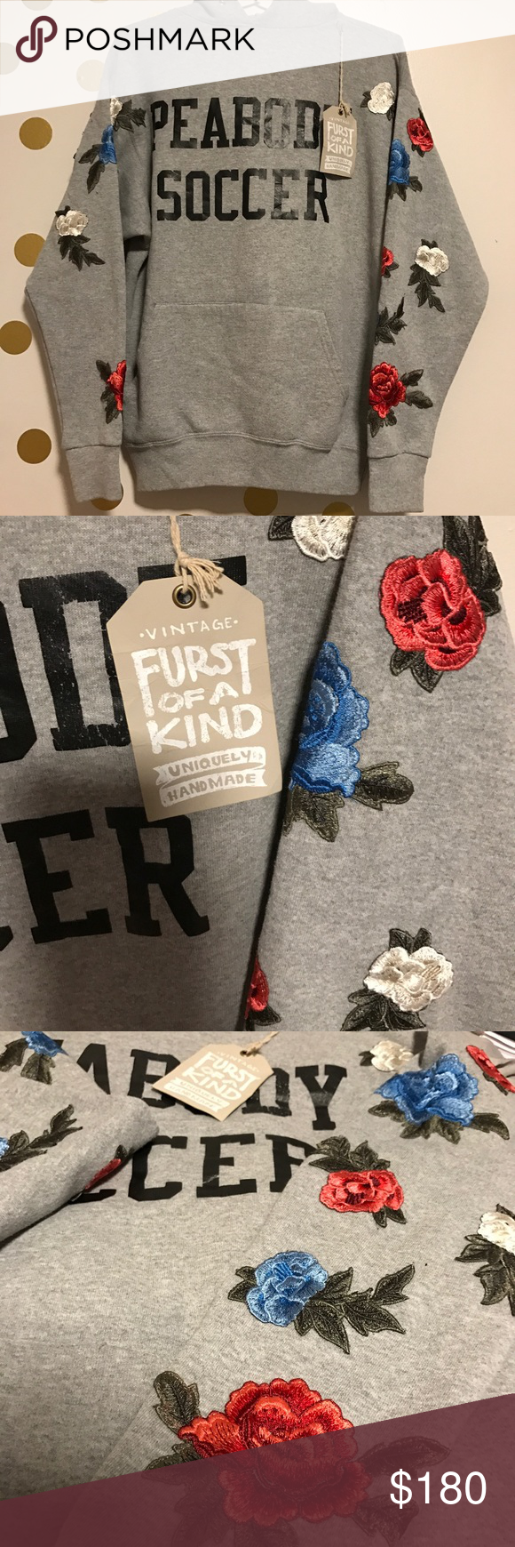 Furst of a Kind Vintage Floral Sweater • brand new with tags • Has rose applique going down the sleeves  • uniquely made • prices are firm • no trades - ONE SIZE LF Tops Sweatshirts & Hoodies