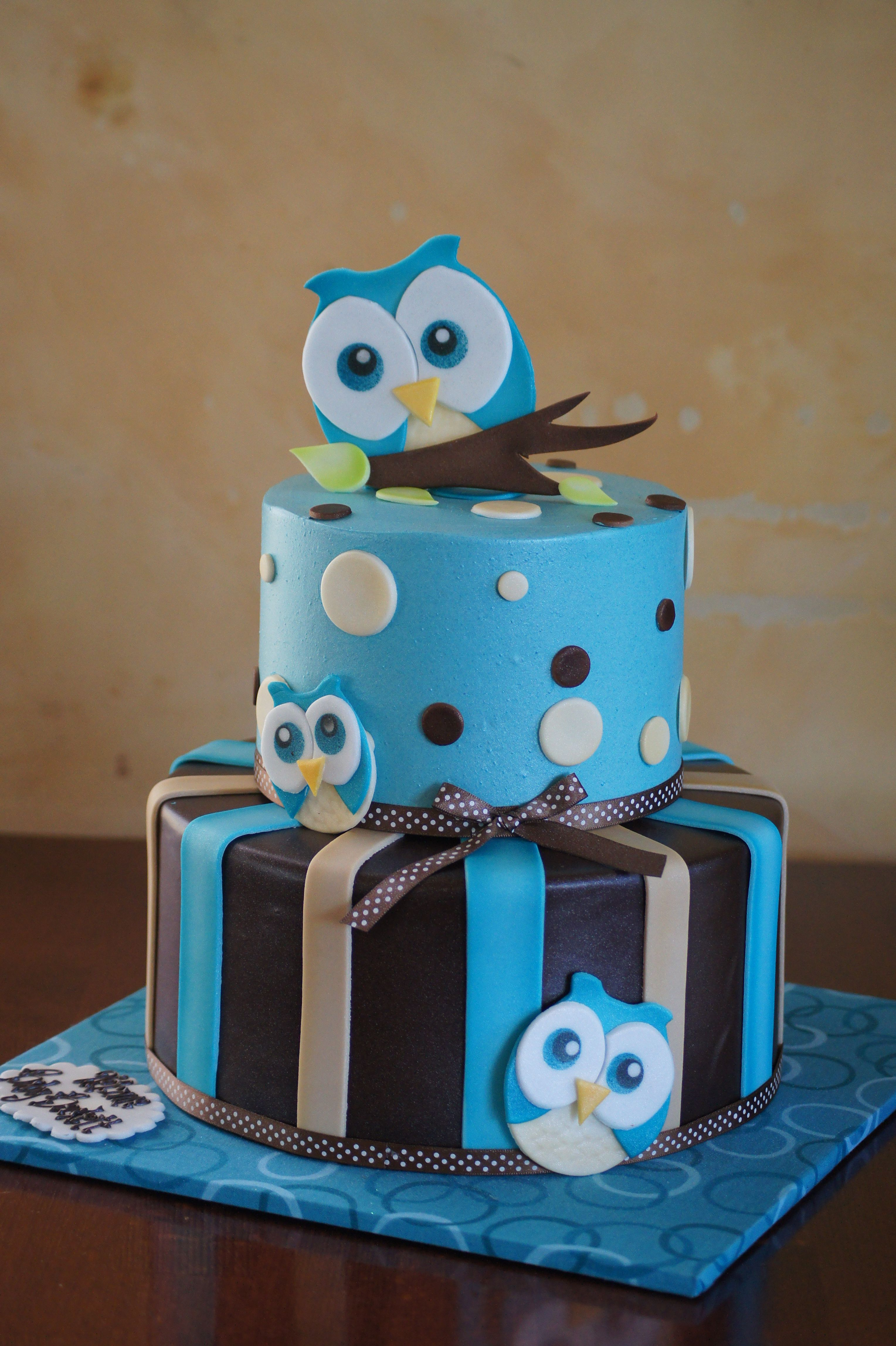 Blue Owl Themed Baby Shower Cake With Images Baby Shower Cakes