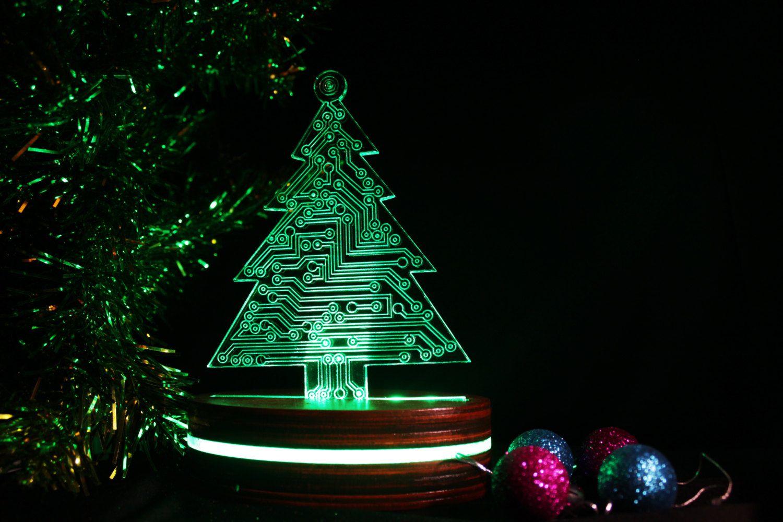 Árbol de Navidad acrílico ligero de la exhibición, cambio de placa ...