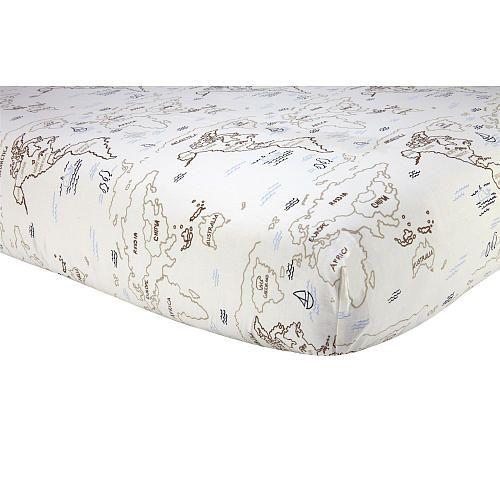 Sadie Scout World Map Crib Sheet Ivory And Tan