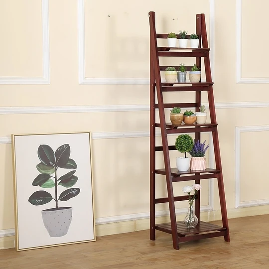 5 Tier Wooden Ladder Shelf Stand Storage Book Display Rack Coffee In 2020 Wooden Ladder Wooden Ladder Shelf Display Shelves