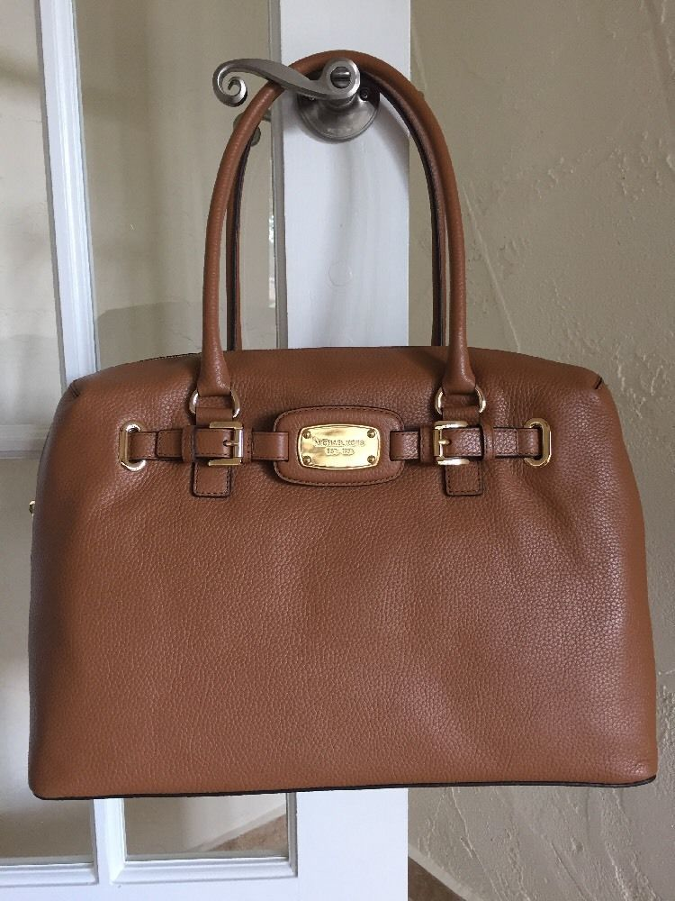 Michael Kors Hamilton Weekender Duffel Bag Travel Overnight Acorn Leather Michaelkors