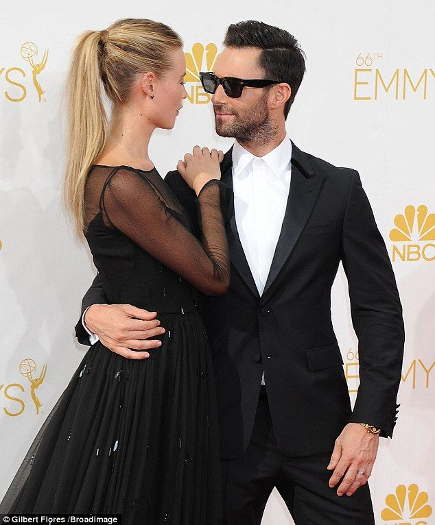 Adam Levine Passionately Kisses Behati Prinsloo At The Emmy Awards
