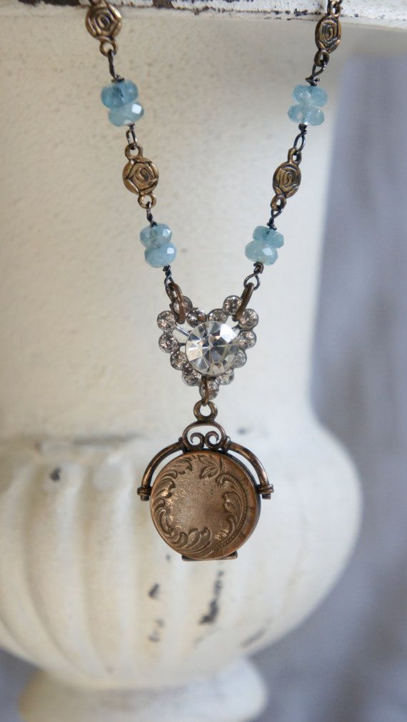 Watching Over-Vintage assemblage necklace watch fob necklace locket necklace aquamarine assemblage jewelry - by French Feather Designs.