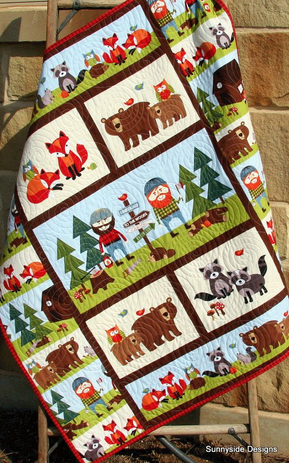 Lumberjack Quilt Kit Flannel Baby Boy Panel Quick Easy