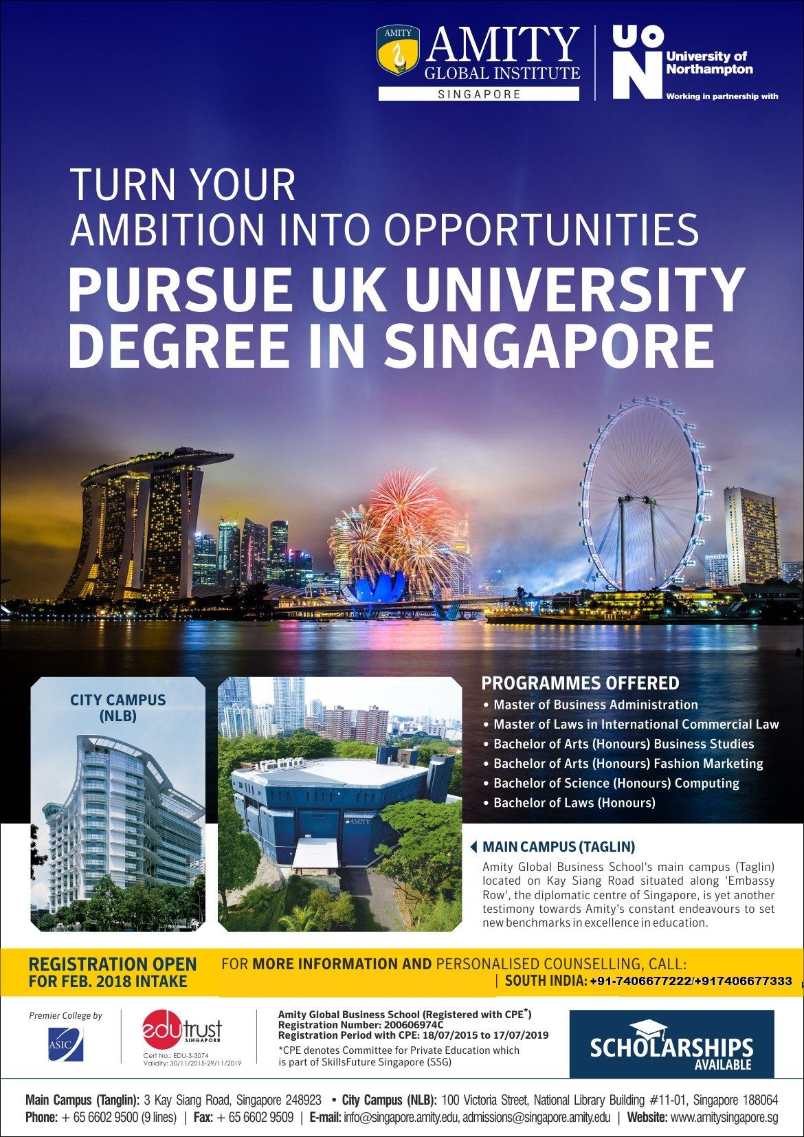 One Year Mba Program In Singapore Campus Registration Open For Feb Intake Write To Us O Masters In Business Administration Online Mba Scholarships For College