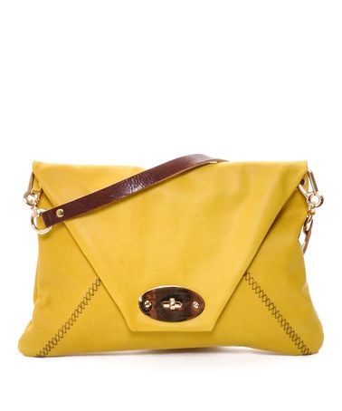 Take a look at this Yellow Leather Envelope Clutch by Carla Mancini on #zulily today!