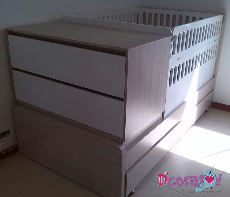 Cama Cuna Para tu bebé, funcional y convertible en cama sencilla con nocheros cuando tu bebé crezca