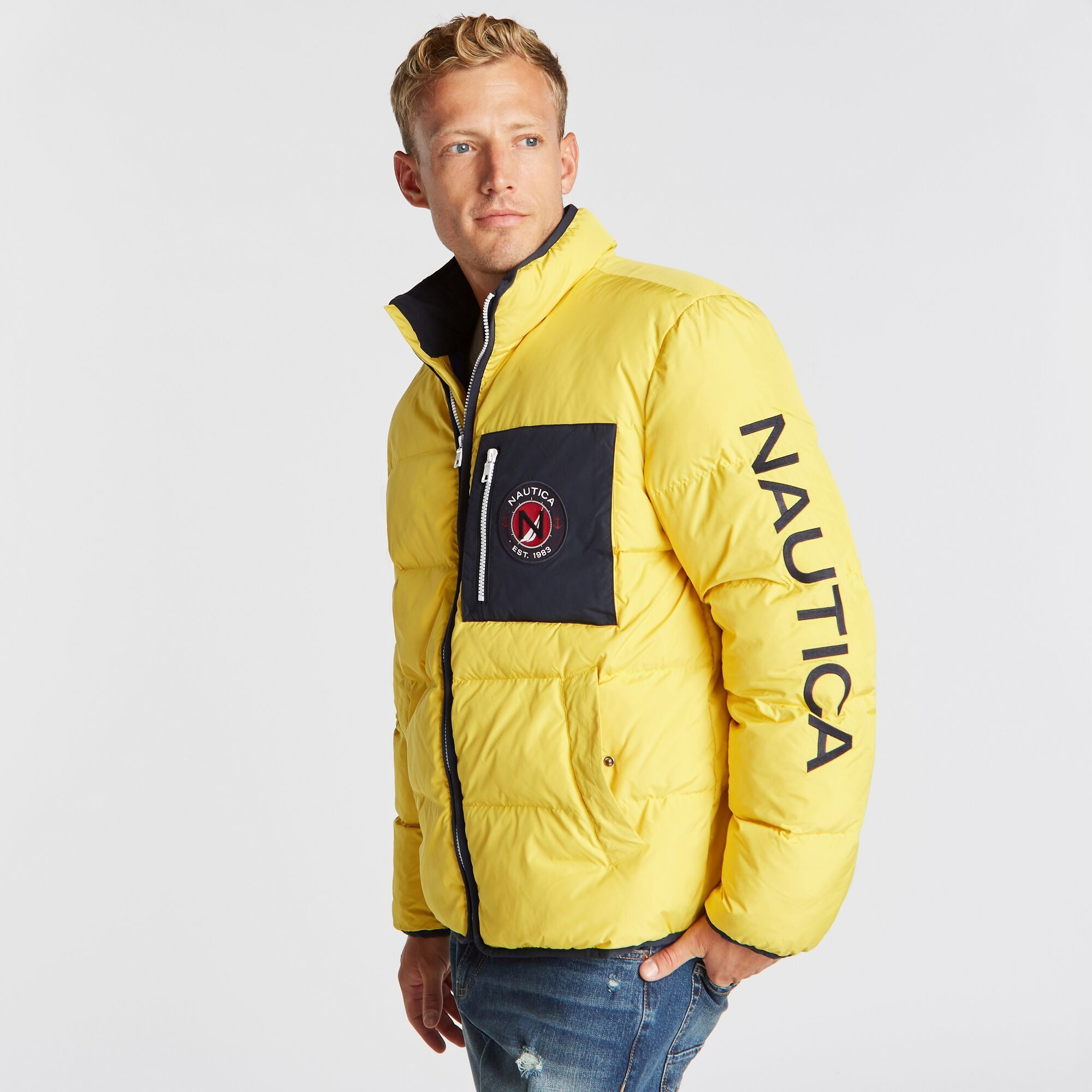 Nautica Men S Puffer Jacket With Tempasphere Buoy Yellow Mens Puffer Jacket Jackets Warm Puffer Jackets [ 2000 x 2000 Pixel ]