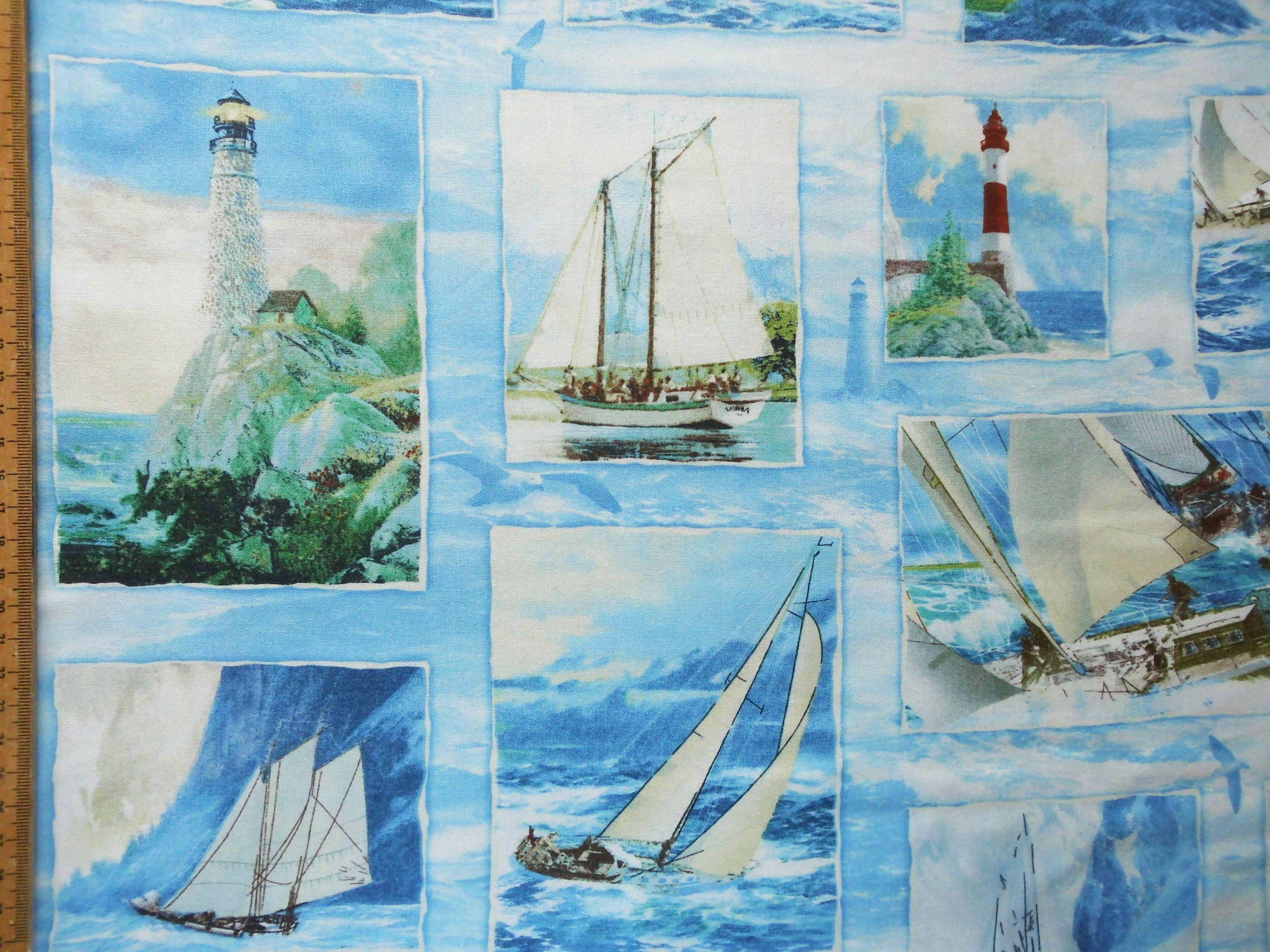 Maritime Stoffe maritime stoffe leuchtturm segelboot maritim rennyacht panel