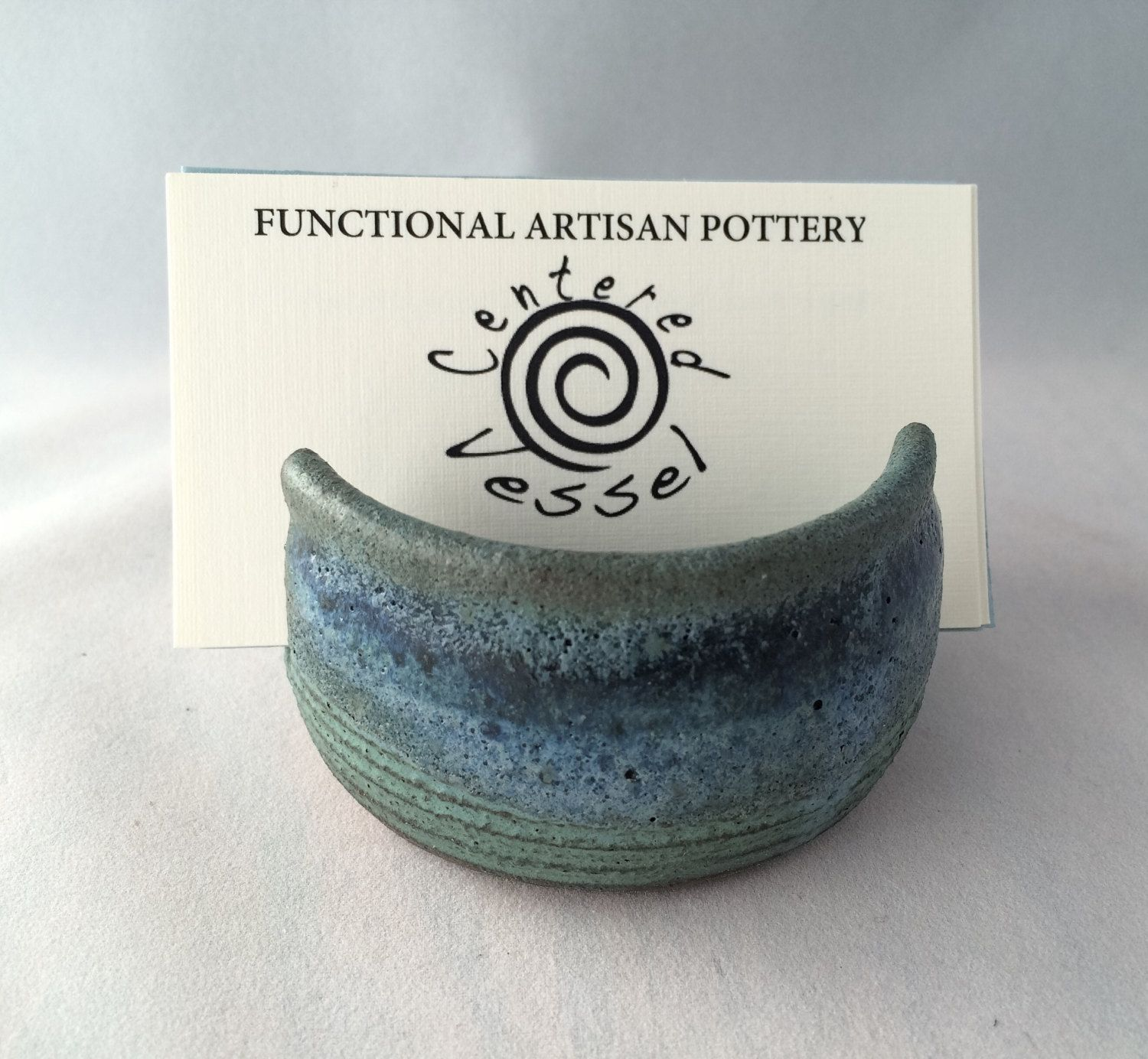 Stoneware pottery business card holder, bronze teal green and blue ...