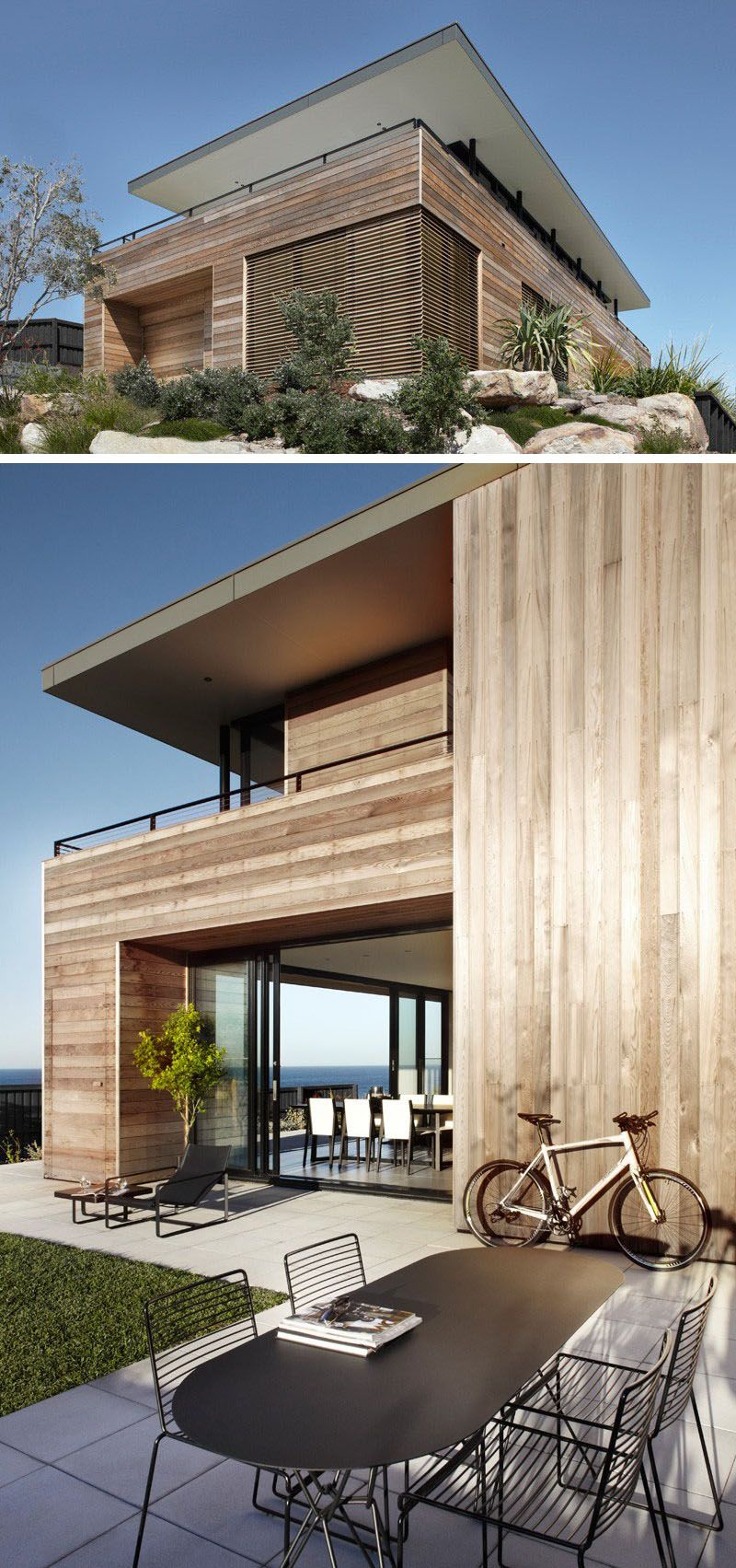 14 Examples Of Modern Beach Houses // Light Wood Paneling Covers The  Exterior Of The