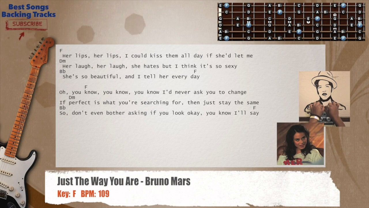 Just The Way You Are Bruno Mars Guitar Backing Track With Chords