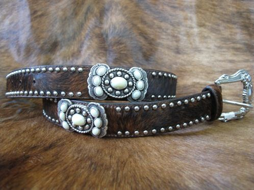 Rusty Spur Couture SSM Brindle Hide With Pearl Butterfly Conchos Leather Belt - 7124, ,