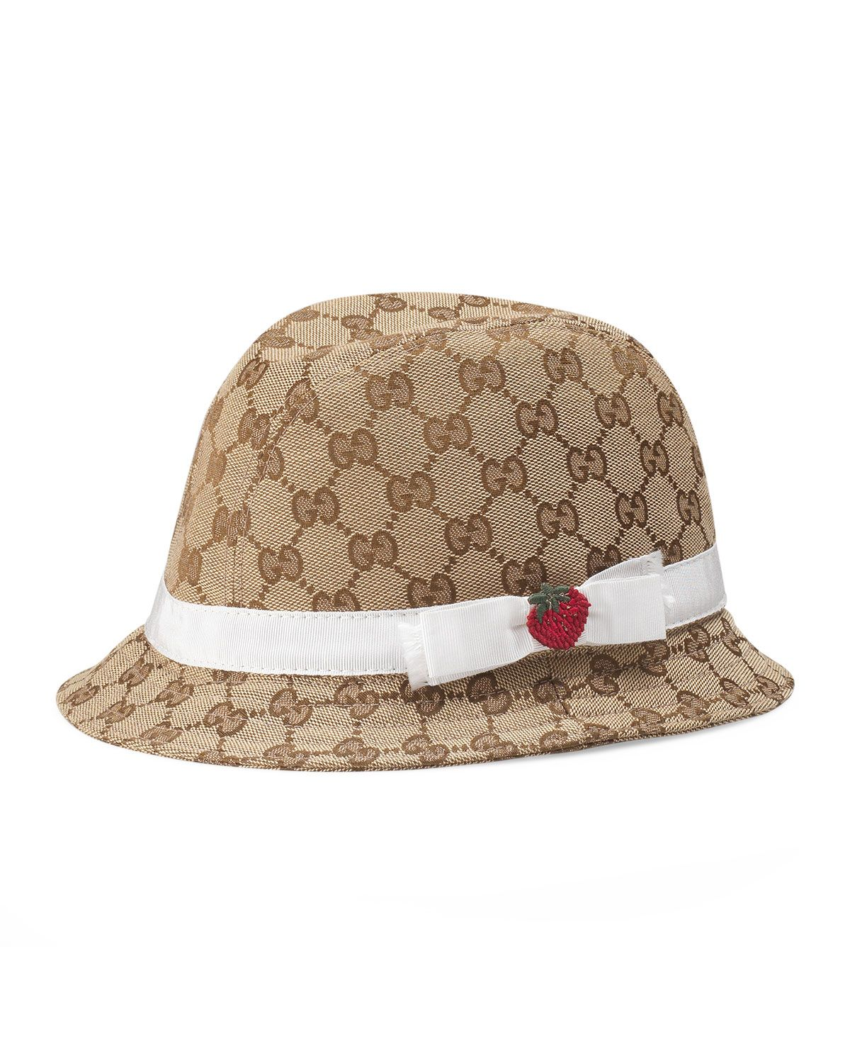 8ee13ff4dc7 Girls  GG Canvas Fedora Hat w  Strawberry