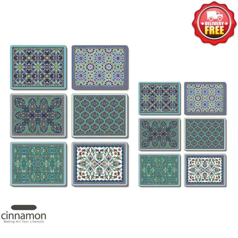 Cinnamon Dubai Cork Backed Placemats And Coasters Set Of 12 Pcs 9313860153702 Ebay In 2020 Placemats Coasters Coaster Set