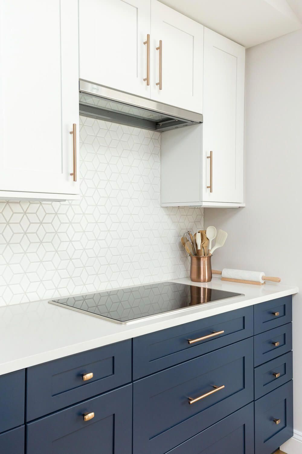 Kitchen With New White & Navy Shaker Cabinets, White